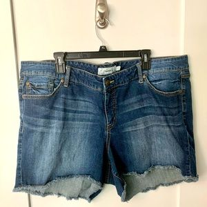Torrid Faded & Frayed Denim Shorts, Size 24